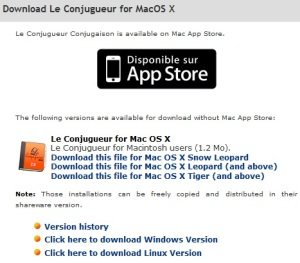 picture of the download links le conjugueur