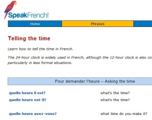 picture of speak french time page